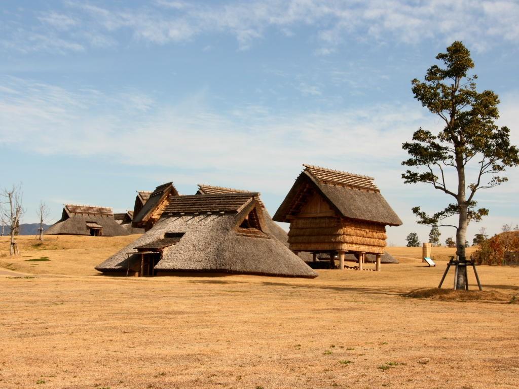 無料壁紙写真素材集 1月 冬 吉野ヶ里歴史公園 遺跡 環状集落