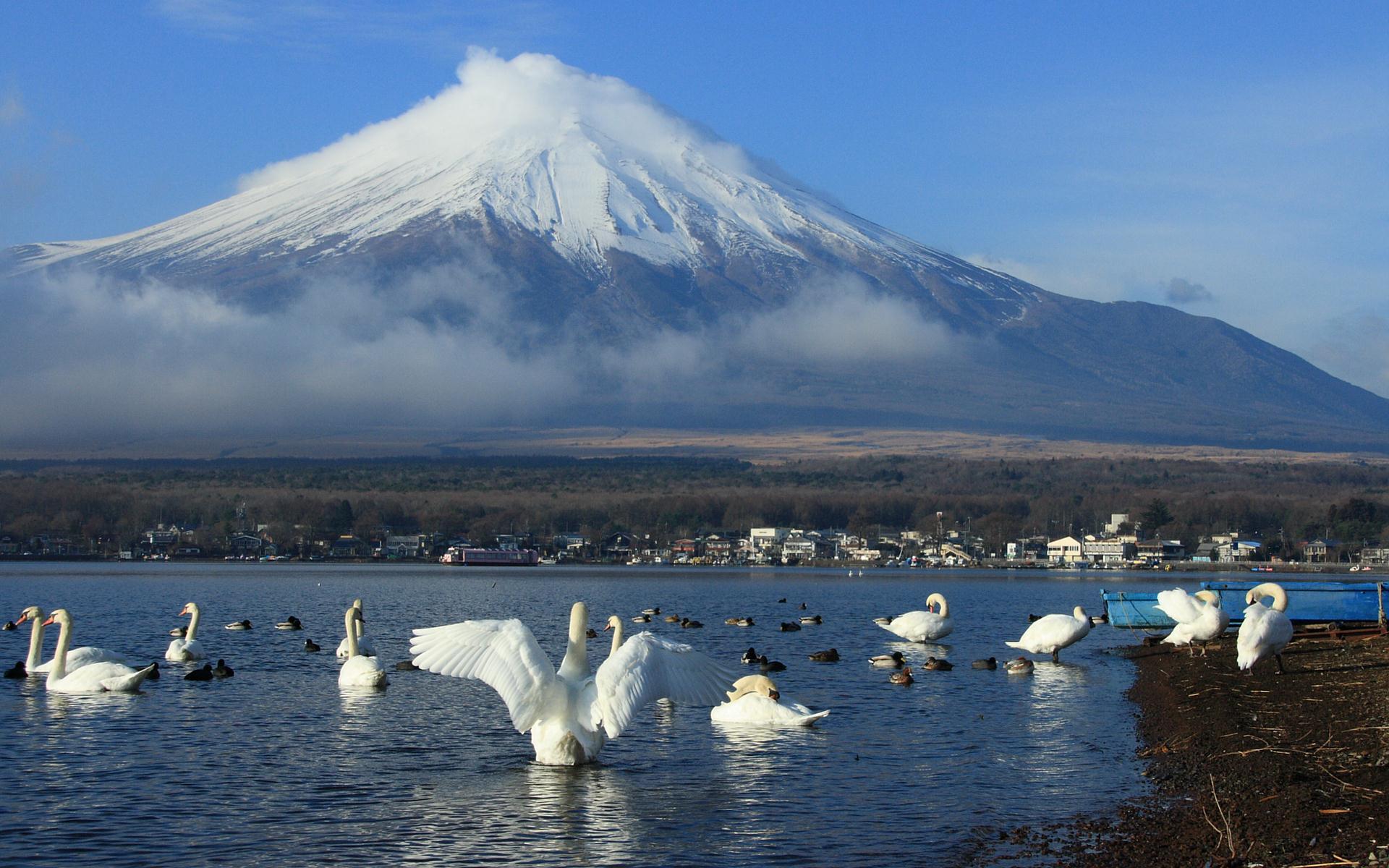 富士山の壁紙 写真素材 山中湖から見た富士山